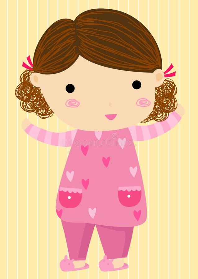 Mała dziewczynka w piżamach ilustracji