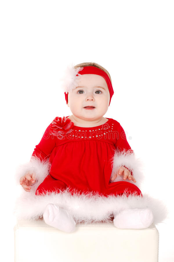 Mała dziewczynka w Santa kostiumu zdjęcia royalty free