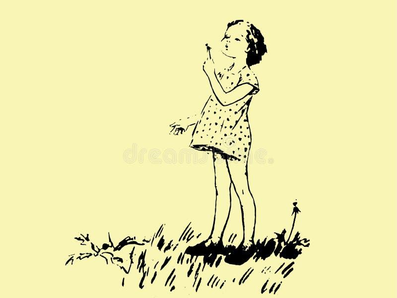 Mała dziewczynka w smokingowym dmuchaniu na dandelion rysującym w ołówku royalty ilustracja
