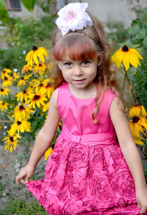 Mała dziewczynka w sukni pięknych kosztach przeciw tłu kwitnie coneflowers zdjęcie stock