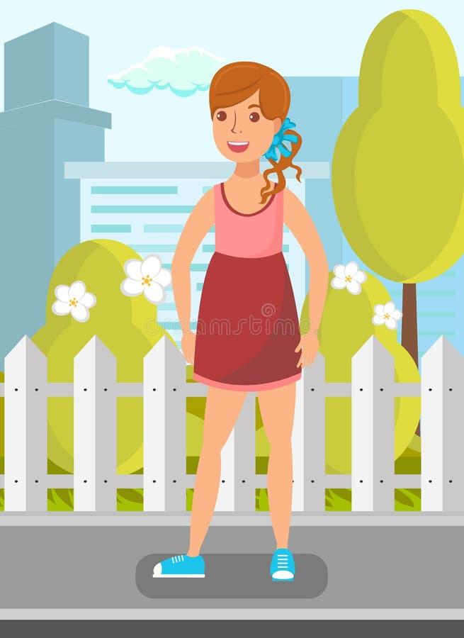 Mała Dziewczynka w Ulicznej Płaskiej Wektorowej ilustracji ilustracji