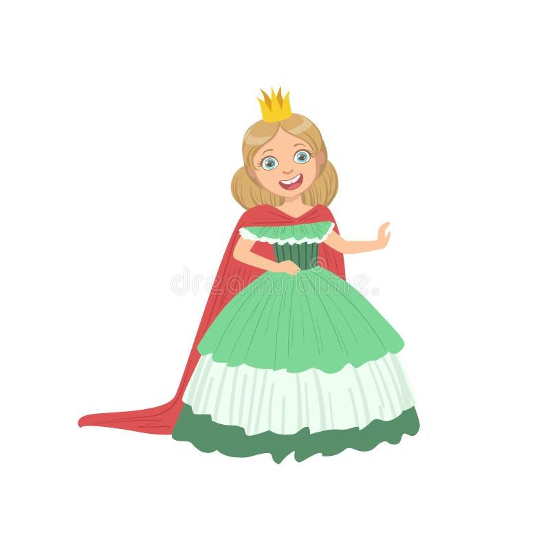 Mała Dziewczynka W zieleni sukni Ubierającej Jako bajki Princess ilustracja wektor
