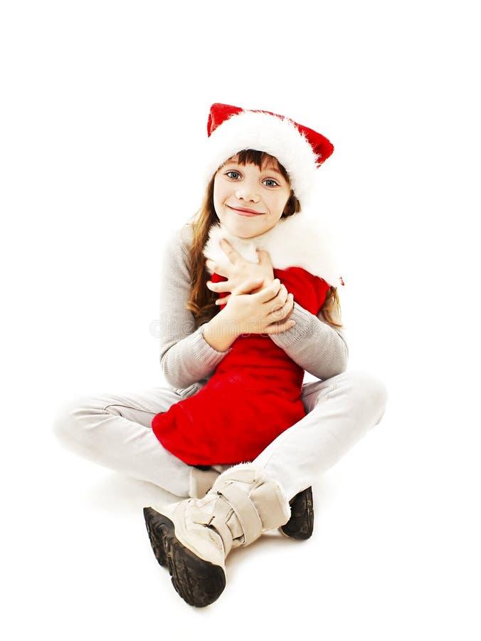 Mała dziewczynka z Bożenarodzeniowym prezentem zdjęcie royalty free