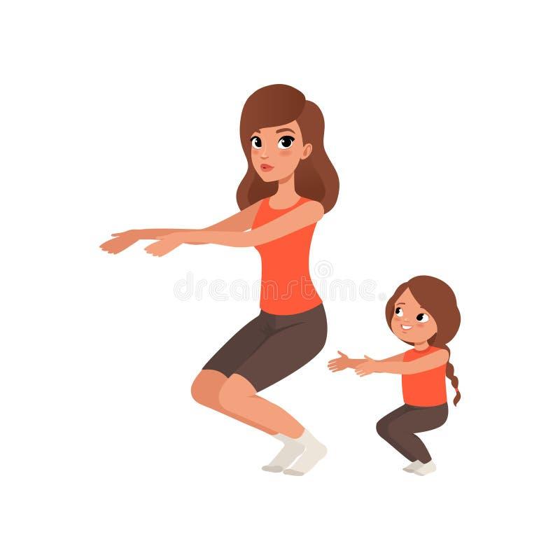 Mała dziewczynka z jej macierzystym robi Ups Ranku ćwiczenie Kreskówki córka w sportswear i mama Sporty rodzina royalty ilustracja