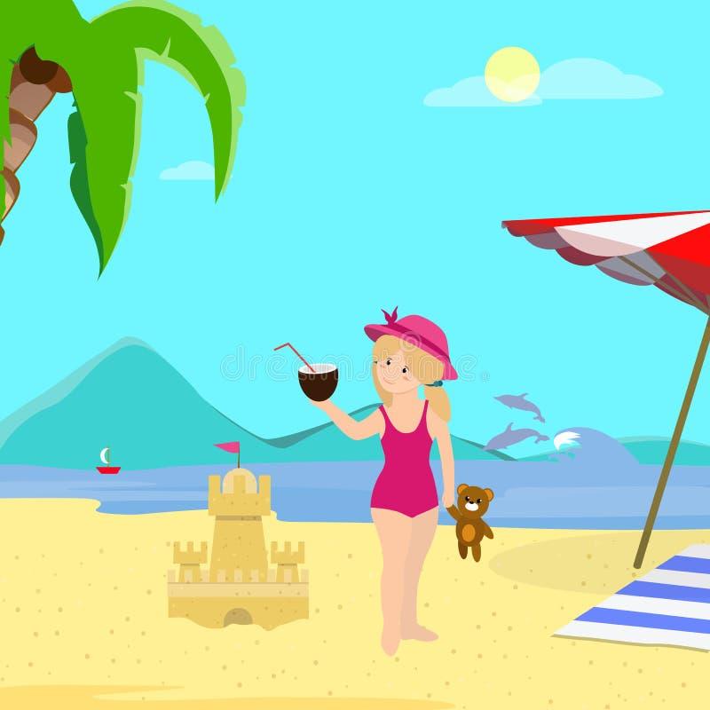 Mała Dziewczynka z koksem na Dennego wybrzeża tle ilustracji