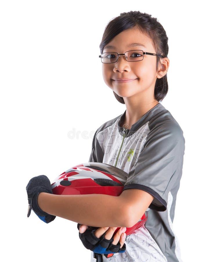 Mała Dziewczynka Z kolarstwo ubiorem III obrazy stock