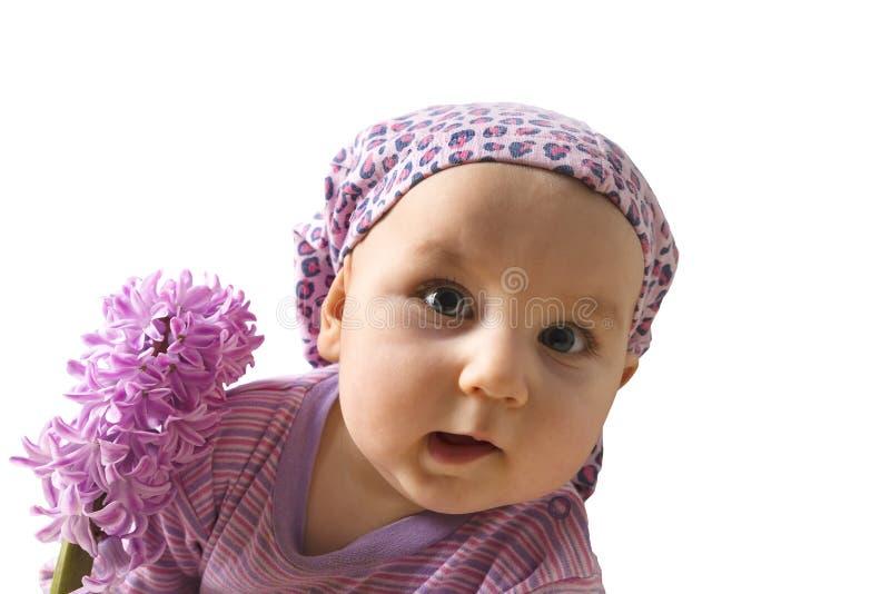 Mała dziewczynka z kwiatem różowy hiacynt, odizolowywa na bielu fotografia stock