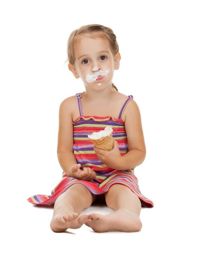 Mała dziewczynka z lody obraz royalty free