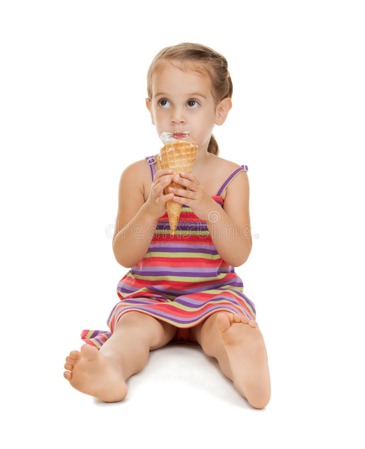 Mała dziewczynka z lody zdjęcia royalty free