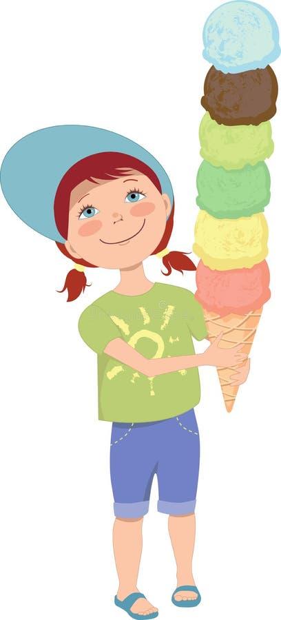 Mała dziewczynka z lody royalty ilustracja