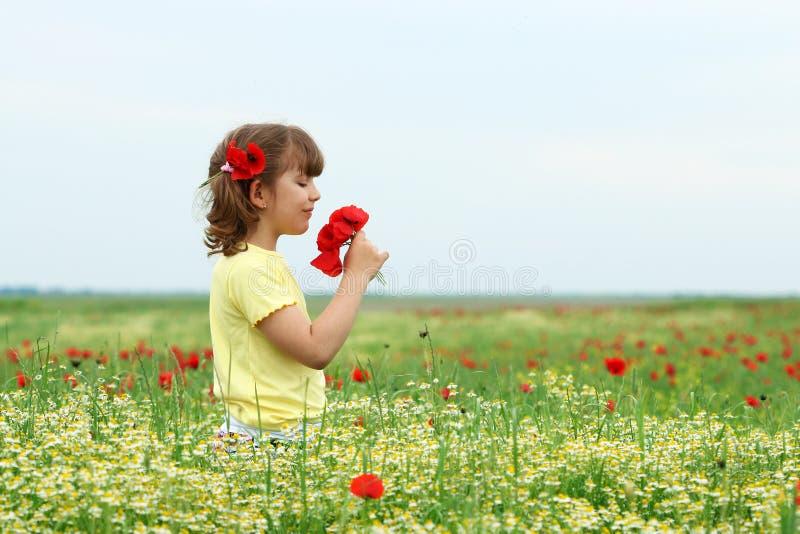 Mała dziewczynka z maczkiem kwitnie na łąkowym wiosna sezonie zdjęcia stock