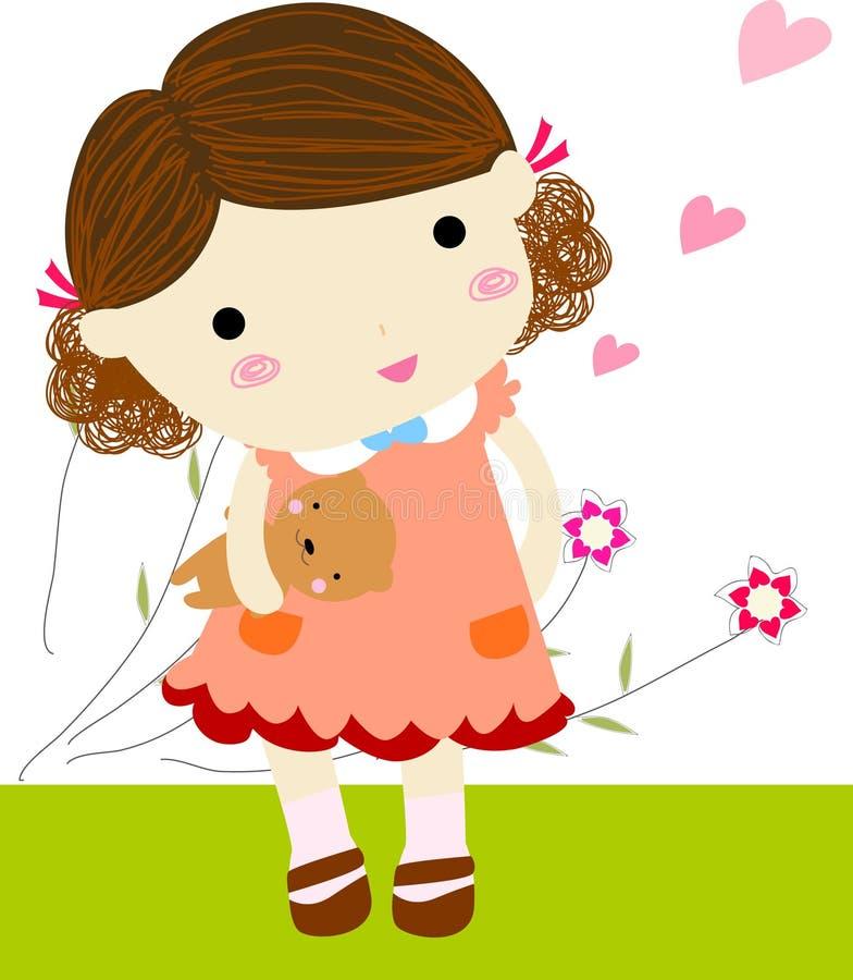 Mała dziewczynka z misiem ilustracji