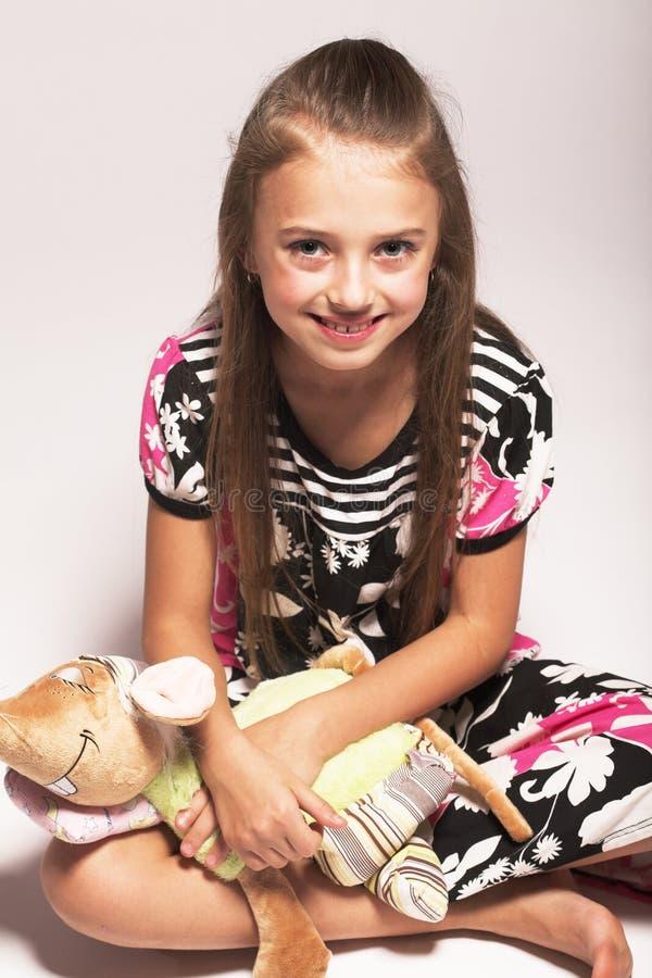 Mała dziewczynka z myszą fotografia stock