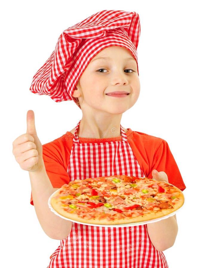Mała dziewczynka z pizzą zdjęcie royalty free