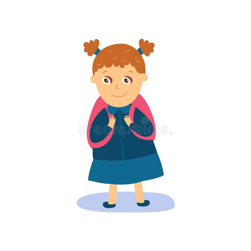 Mała dziewczynka z plecakiem ubierającym dla szkoły ilustracja wektor