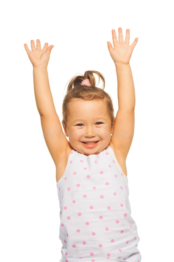Mała dziewczynka z podnosić rękami obrazy royalty free