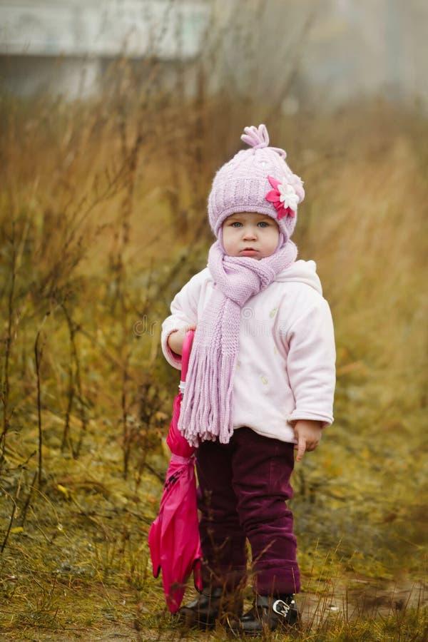 Download Mała Dziewczynka Z Różowym Parasolem W Jesień Parku Zdjęcie Stock - Obraz złożonej z dzieciak, żakiet: 42525380