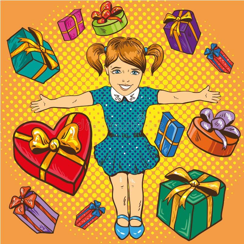 Mała dziewczynka z teraźniejszość i prezentów pudełkami Urodzinowy pojęcie plakat ilustracja wektor