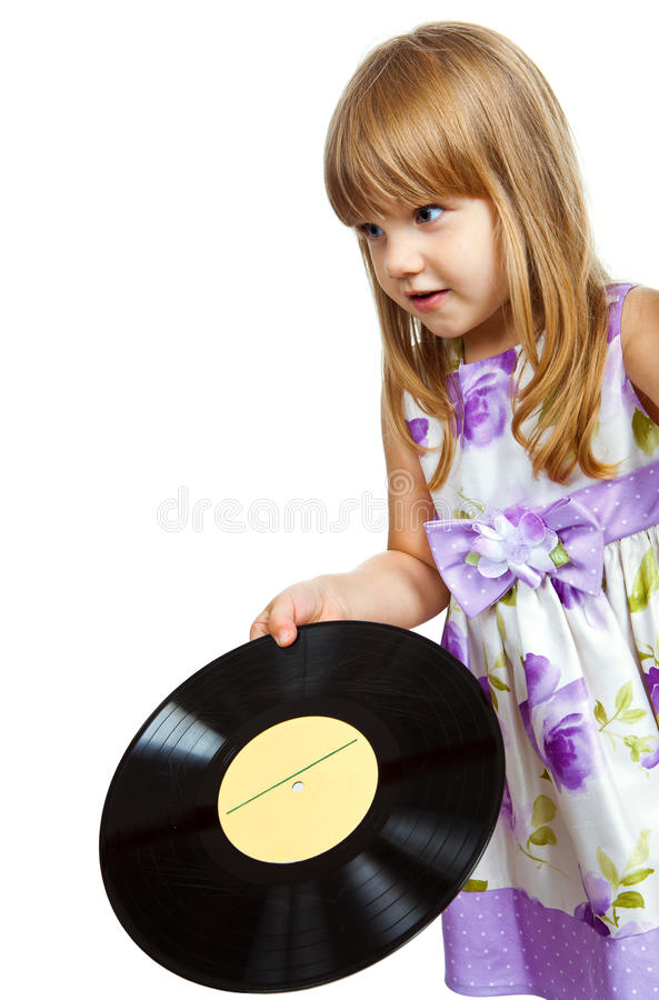 Mała dziewczynka z vinyle rejestrem obraz royalty free