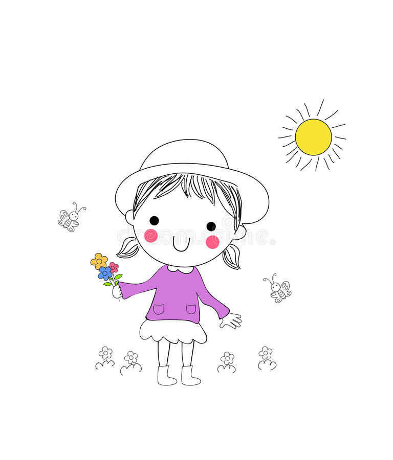 Mała dziewczynka z wiązką kwiaty ilustracji
