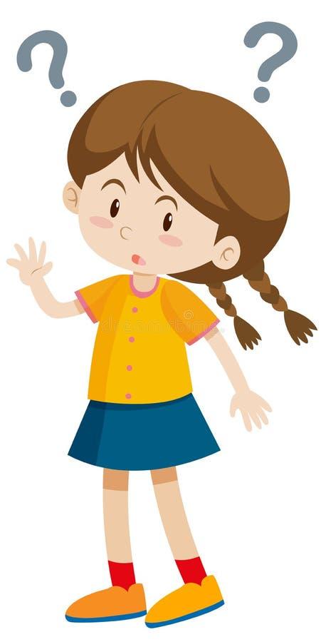 Mała dziewczynka z znakami zapytania ilustracja wektor