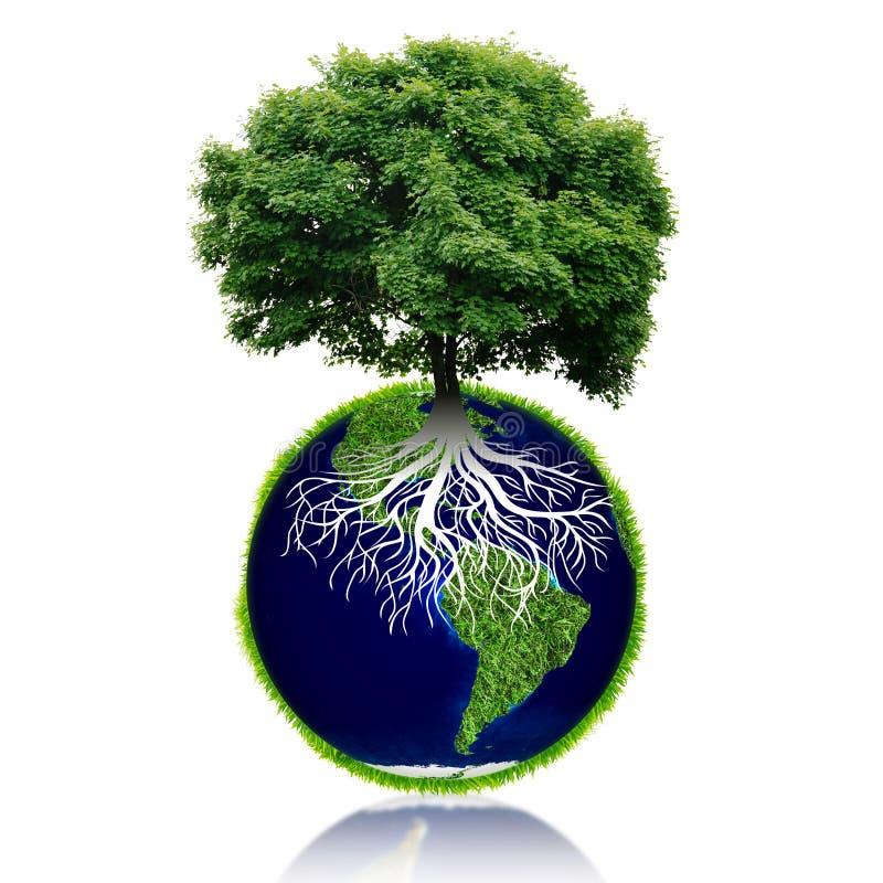 Mała eco planeta z drzewem i korzeniami na nim pojęcia kropli ziemi zieleni liść świat royalty ilustracja