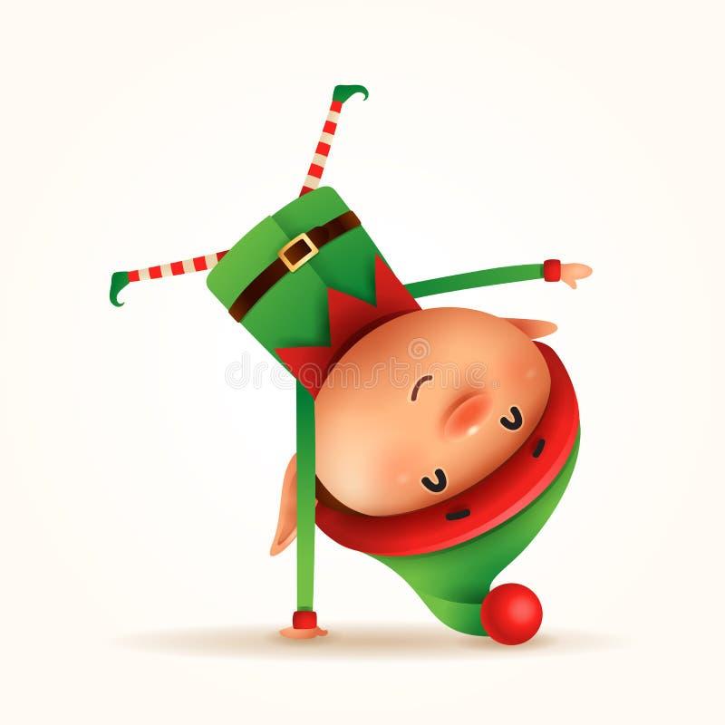 Mała elf pozycja na jego ręce Do góry nogami odosobniony ilustracja wektor