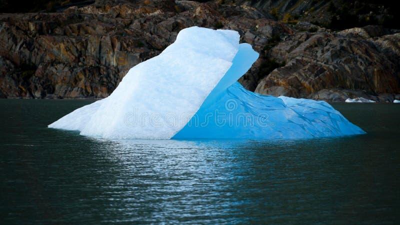 Mała góra lodowa unosi się w jeziornym pobliskim Popielatym lodowu w Torres Del Paine Patagonia, Chile,/ obraz stock