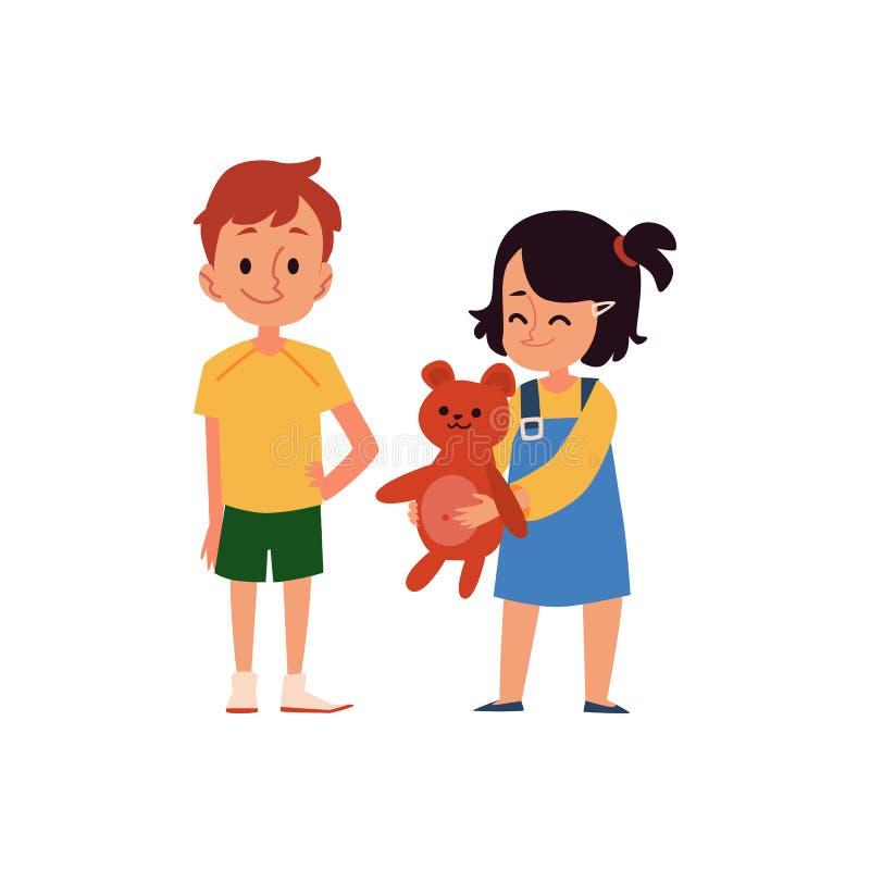 Mała Kaukaska dziecko dziewczyna uśmiecha się zabawkę z chłopiec i dzieli royalty ilustracja