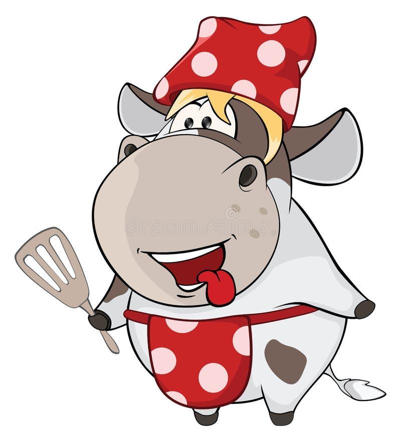 Mała krowa kreskówka ilustracji
