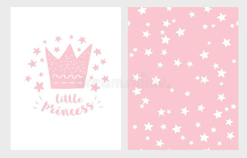 mała księżniczka Ręka Rysujący dziecko prysznic ilustraci Wektorowy set Światło - różowy projekt Gwiaździsty menchia wzór royalty ilustracja