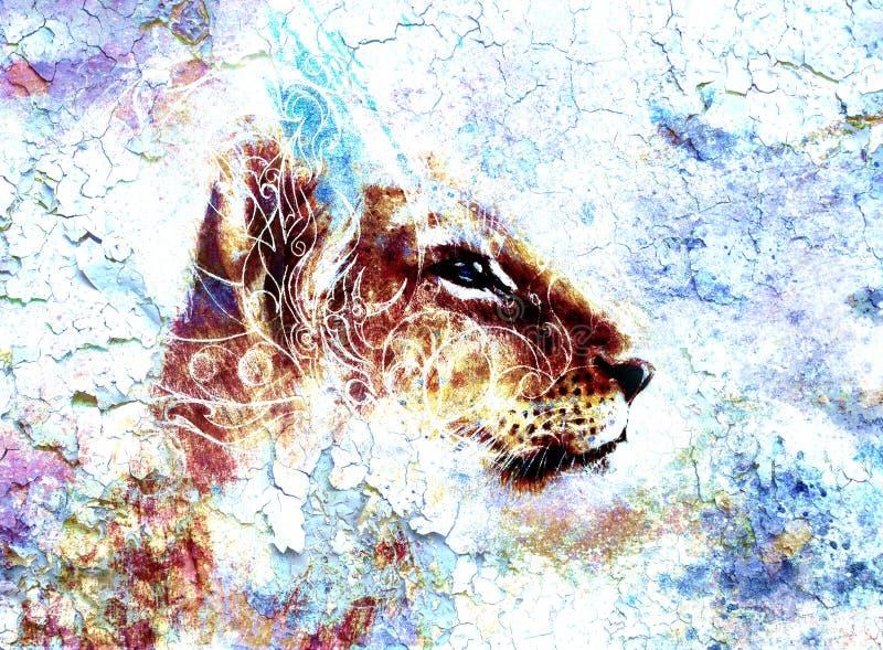 Mała lwa lisiątka głowa zwierzęcy obraz, abstrakt ilustracji