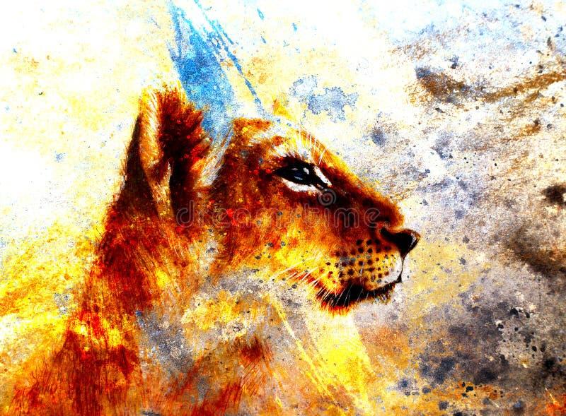 Mała lwa lisiątka głowa zwierzęcy obraz na roczniku ilustracji