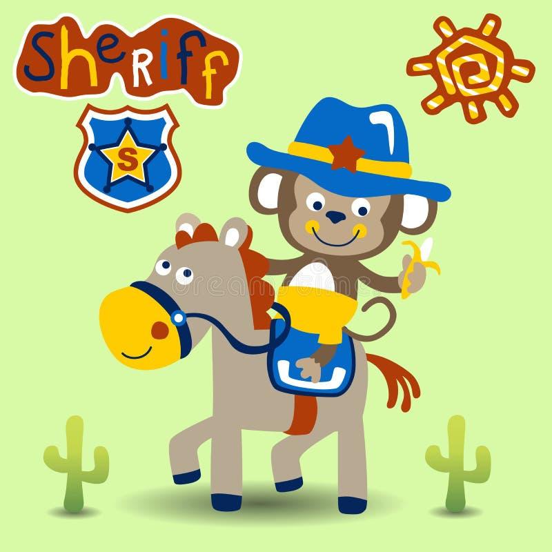 Mała małpia kreskówka śmieszny kowboj ilustracja wektor