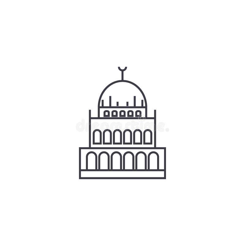 Mała meczetowa wektor linii ikona, znak, ilustracja na tle, editable uderzenia ilustracji