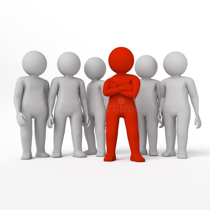 Mała osoba lider drużyna przydzielająca z czerwonym colour świadczenia 3 d Odosobniony biały tło royalty ilustracja