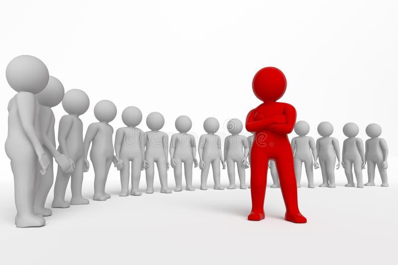 Mała osoba lider drużyna przydzielająca z czerwonym colour świadczenia 3 d Odosobniony biały tło ilustracji