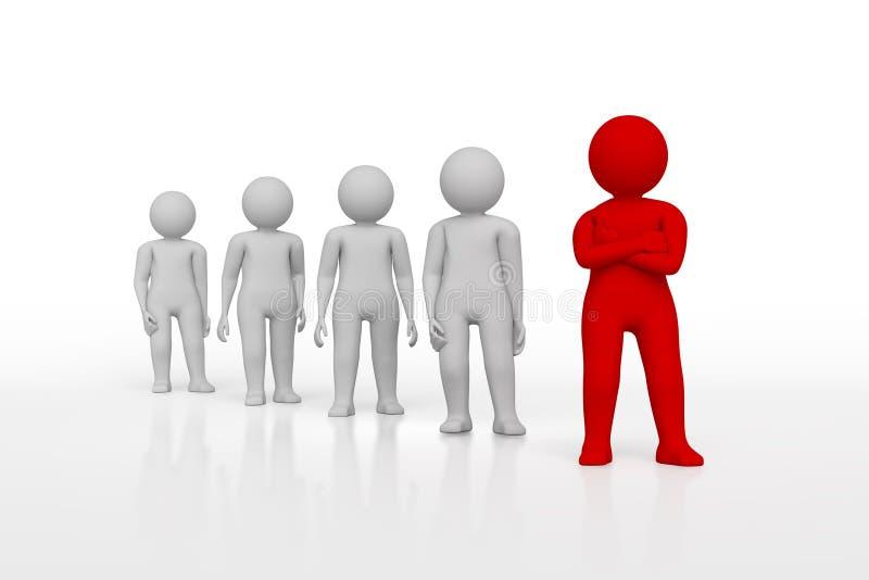 Mała osoba lider drużyna przydzielająca z czerwonym colour świadczenia 3 d Odosobniony biały tło ilustracja wektor