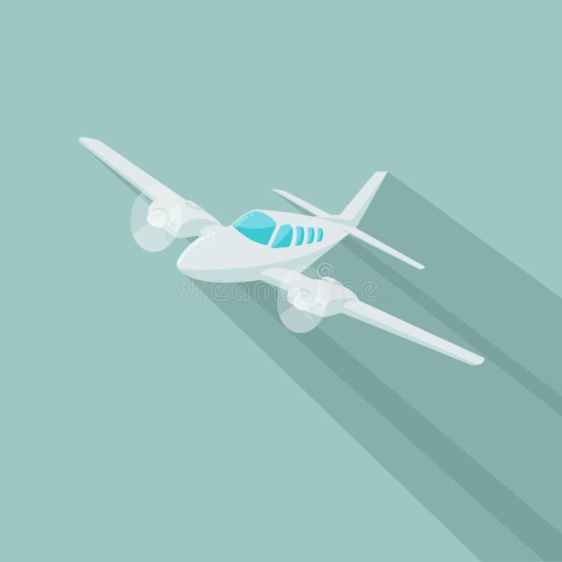Mała płaskiego wektoru ilustracja Bliźniaczy silnik napędzający samolot również zwrócić corel ilustracji wektora Płaski projekt ilustracja wektor