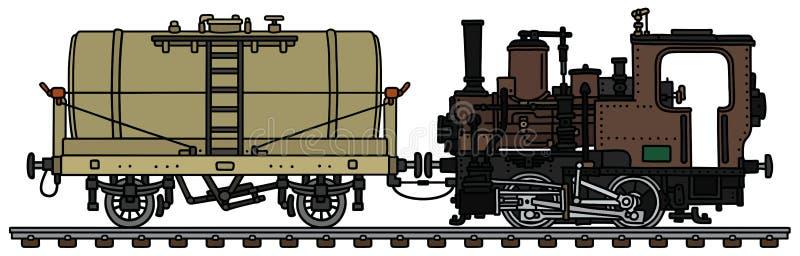 Mała parowa lokomotywa i cysternowy furgon ilustracja wektor