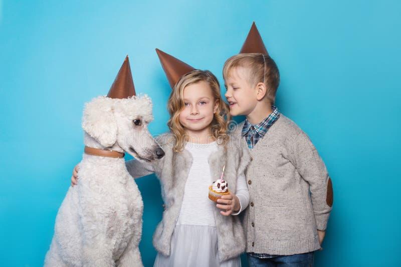 Mała piękna dziewczyna i przystojna chłopiec z psem świętujemy urodziny przyjaźń rodzina Pracowniany portret nad błękitnym tłem obraz royalty free