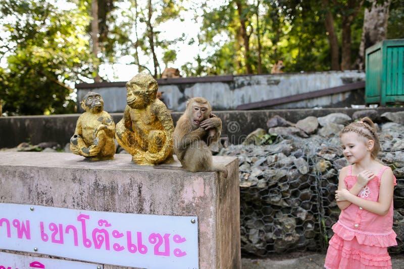 Mała piękna dziewczyna stoi blisko małpich złotych posążków i macaco przy zoo w Tajlandia zdjęcie royalty free