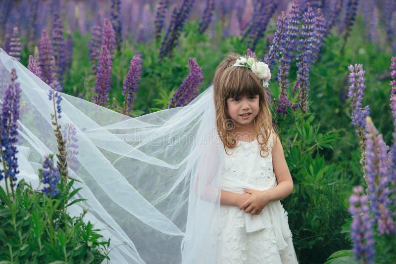 Mała piękna dziewczyna z panny młodej suknią fotografia royalty free