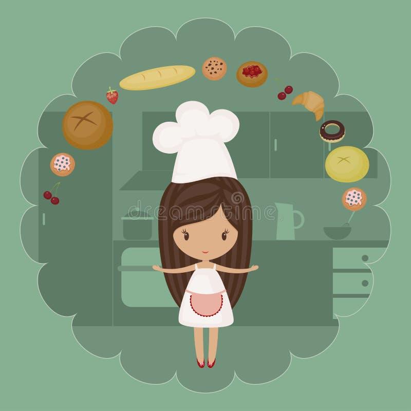 Mała piekarniana dziewczyna ilustracji