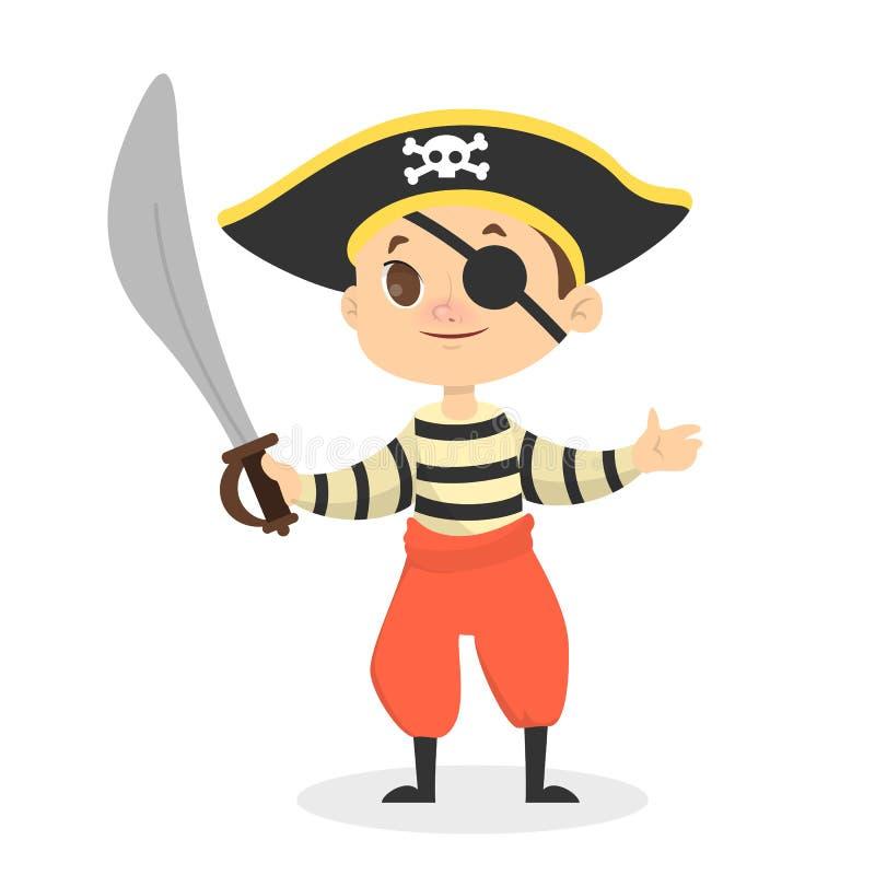 Mała pirat chłopiec z dużym kordzikiem ilustracja wektor
