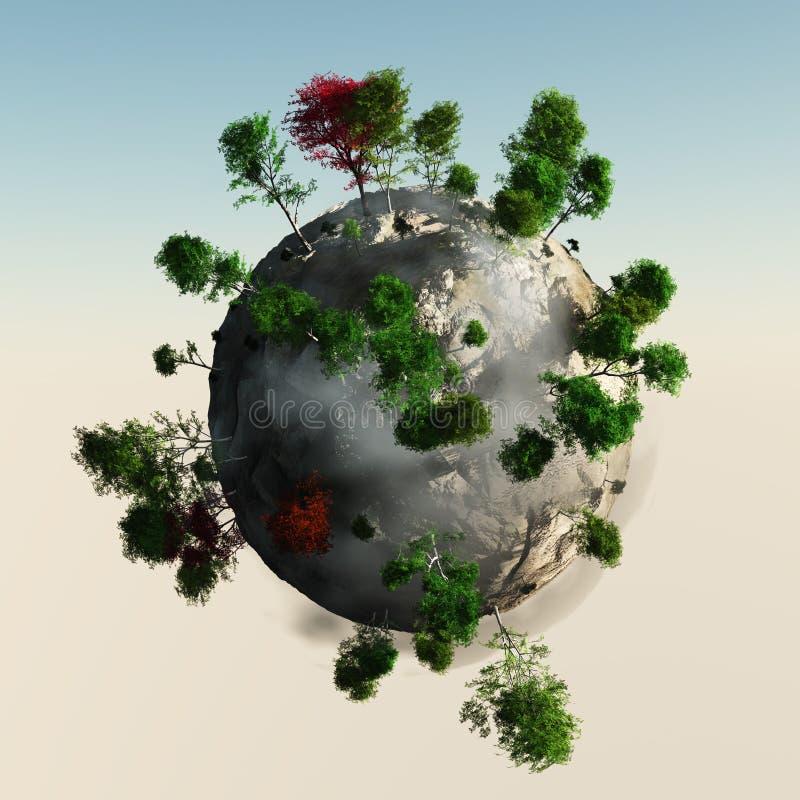 Mała planeta z drzewami ilustracji