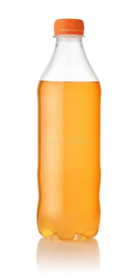 Mała plastikowa butelka pomarańczowa soda fotografia stock