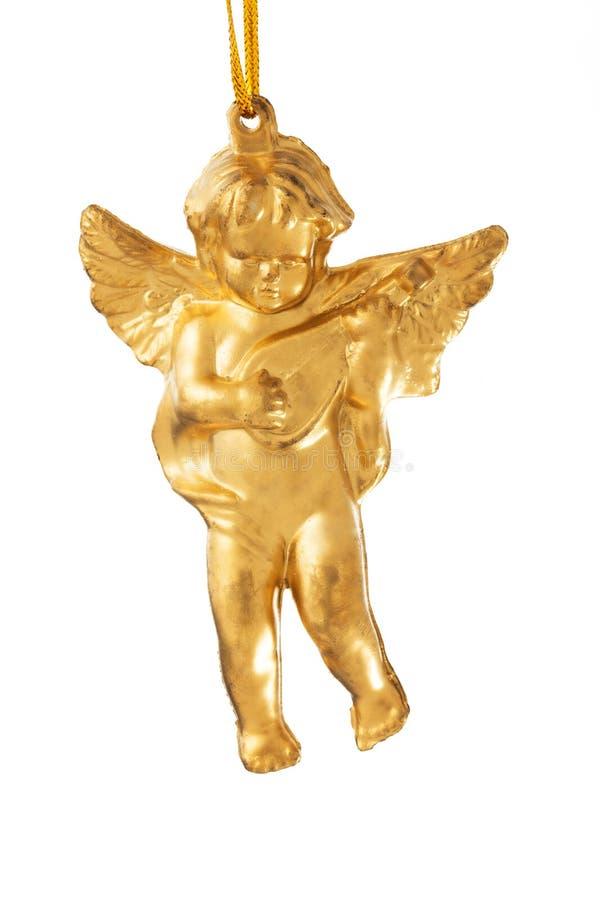 Mała postać bawić się Bożenarodzeniowy anioł odizolowywający na białym bac zdjęcia stock