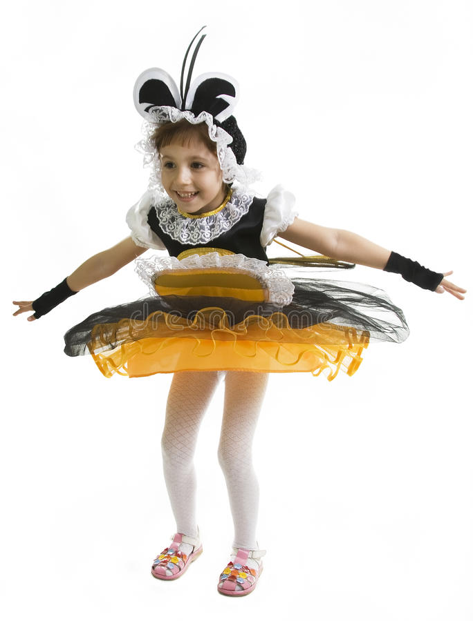 mała pszczoły dziewczyna kostiumowa latająca zdjęcia stock