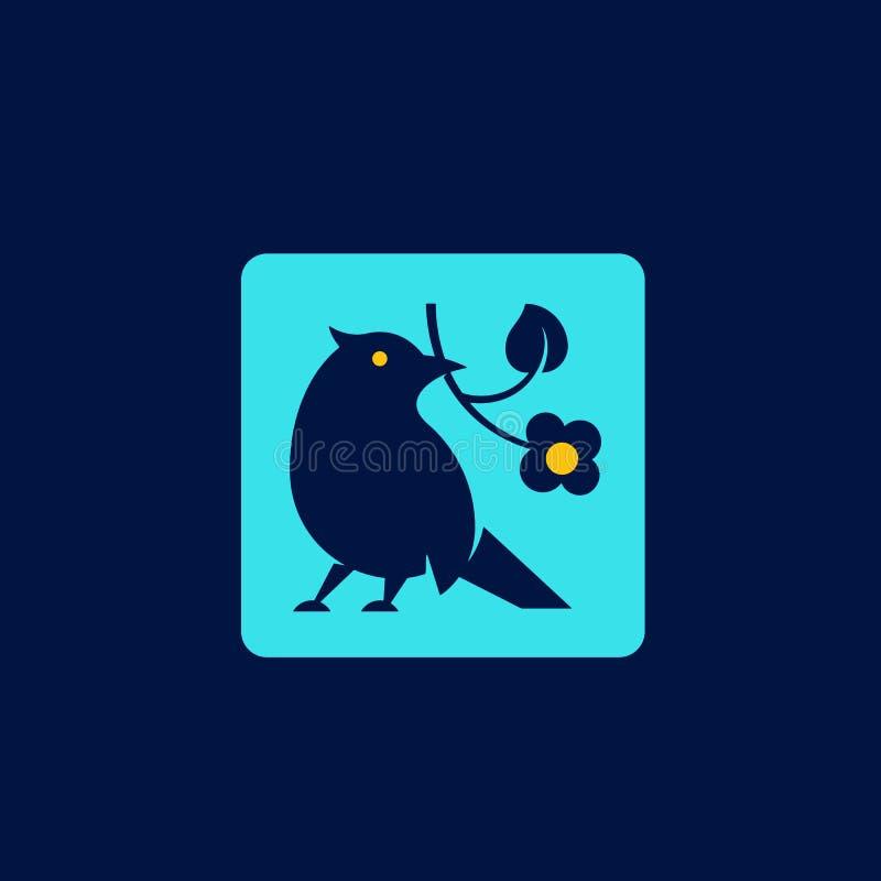 Mała Ptasia sylwetka z kwiatem w Jej belfrze Abstrakcjonistyczny wektoru znak, symbol lub loga szablon, Minimalizm premia ilustracji